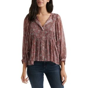 Lucky Brand NWT Floral Peasant Blouse Size XS